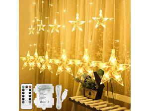 Extremella Goods 12-Star Window Curtain Lights, 138 LED IP44 Waterproof, Remote Control with USB Powered or Battery Operated, String Lights 8 Modes for Indoors and Outdoors