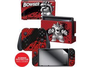 "Controller Gear  Nintendo Switch Skin & Screen Protector Set - Super Mario - ""Bowser Bricks"" - Nintendo Switch"
