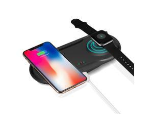 2 IN 1 Qi Wireless Charger Fast Charging Dock Pad for  Watch 2 3 4 iPhone X