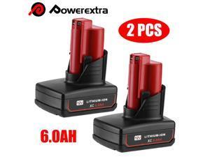 2 PACK For Milwaukee M12 12V Li-ion XC 6.0 AH Battery 48-11-2460 48-11-2401 Tool