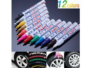 12PCs  Waterproof Permanent Paint Marker Pen Car Tyre Tire Tread Rubber Metal