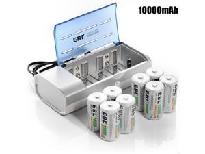 8x 1.2V 10000mah D Cell Size Rechargeable Battery +C D Cell 9V AA AAA Charger