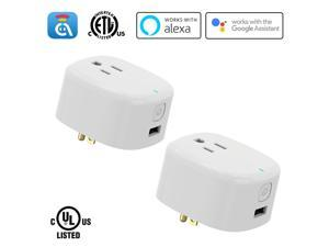AvatarControls WiFi Smart Plug UL Certified Smart Home Outlet Timer Switch,Remote Control ON/OFF Household Appliances Anywhere,Work with Alexa/Google Assistant/IFTTT, No Hub Required (2 Pack)