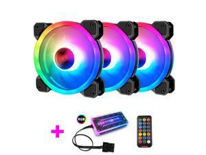 COOLMOON RGB Case Fans,120mm Silent Computer Cooling PC Case Fan, RGB Color Changing LED Fan with Remote Control