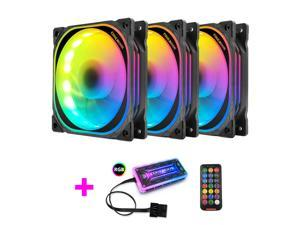 COOLMOON RGB Case Fans,120mm Multilayer Luminescence Silent Computer Cooling PC Case Fan, RGB Color Changing LED Fan with Remote Control