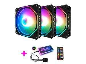 COOLMOON RGB Case Fans,120mm Exquisite Polygon Silent Computer Cooling PC Case Fan, RGB Color Changing LED Fan with Remote Control