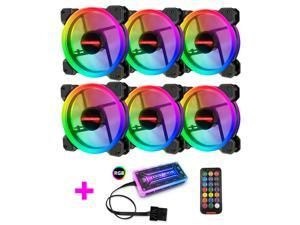 COOLMOON 120mm RGB Case Fans, Eclipse Aurora Silent Computer Cooling PC Case Fan, RGB Color Changing LED Fan with Remote Control