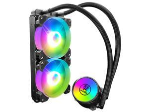 COOLMOON New Water Cooling Radiator Integrated CPU Cooler,Two 120mm RGB Fans,RGB Light Synchronization w/38cm Water Cooling Pipe