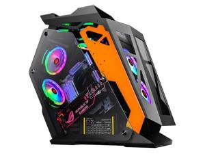 New RGB Fans Water-cooled Gaming Case Computer Tower Case For Micro ATX,Panoramic Tempered Glass