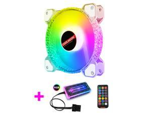 COOLMOON RGB Case Fans,120mm Transparent Diamond Silent Computer Cooling PC Case Fan, RGB Color Changing LED Fan with Remote Control