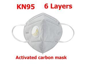 20 Pieces KN95 Mask Reusable Activated Carbon Mask 6-layers - Valved Face Mask N95 FFP2 with breathing valve Gray
