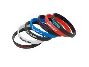 8 Pieces Silicone Rubber Wristband Basketball Sports Wristbands Flexible Hand Band Cuff Bracelets Supreme Slim Bracelet