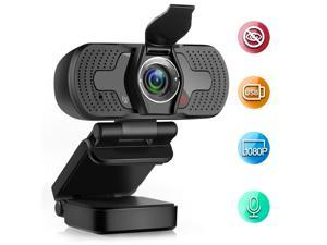 Webcam 1080P Computer Camera with Privacy Cover USB Connection Built-in Noise-reduction Microphone for Live Video