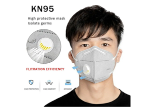 15PCS Reusable KN95 Mask 6-layers - Valved Face Mask Air Anti-Dust / Anti-Fog Mouth Respirator Windproof PM 2.5 Gray