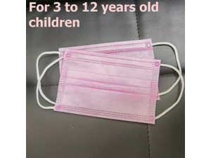50 Pieces 3-Layer Kids Disposable Face Masks for 3-12 Years Old Children Mask Pink