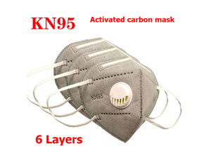 15PCS Reusable KN95 Mask JINJIANG Activated Carbon Mask 6-layers With Breathing Valve Folding Fespirator Gray