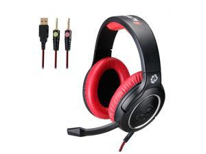 ALTEAM Gaming Headset Over Ear 53mm Driver Pro Game Headphone with Microphone & LED Light, Surround Bass Stereo Sound, Volume Control Wheel, Double 3.5mm Plug for PC Computer Laptop - Black/Red