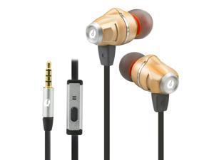 ALTEAM Dual Drivers Hybrid Earphone with Mic Hi-Res in-Ear Headphone with High Resolution, Stereo Sound Dynamic Balance Armature, 3.5mm Tangle Free Flat Noodle Cable for Cellphones/PC/Tablet - Gold