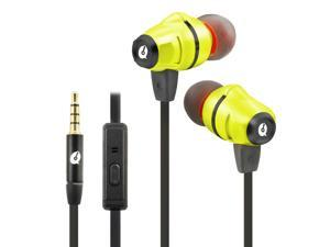 ALTEAM Dual Drivers Hybrid Earphone with Mic Hi-Res in-Ear Headphone with High Resolution, Stereo Sound Dynamic Balance Armature, 3.5mm Tangle Free Flat Noodle Cable for Cellphones/PC/Tablet - Yellow