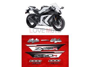 LoveMoto Whole Vehicle Decals Stickers for 11 12 13 14 15 ZX-10R ZX10R Ninja kawasaki 2011 2012 2013 2014 2015 Motorcycle Full kit Decals (Black & White)