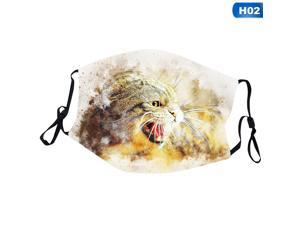 Cat Masks Pets Animal Printed Face Mask Half Mouth Cover Art Washable Reusable Mask