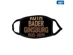 2020 Ruth Bader Ginsburg 3D Printd Adult Mask Black Cotton Rbg Dissent Collar Face Mask Windproof Reusable Half Face Mouth Cover
