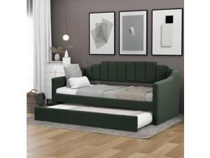 SANUME Twin Size Upholstered Daybed with Trundle, Sofa Bed Wood Bed Frame with Swooping Arms, No Box Spring Needed (Green)