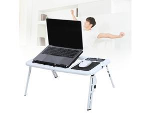 Adjustable Foldable Laptop Desk Table w/ Cooling Fan stand Bed Sofa Couch White