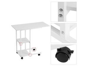 Portable Laptop Desk Laptop Notebook Rolling Table Stand Overbed W/Storage Shelf