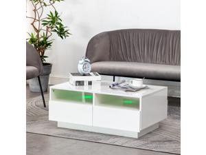 Modern Coffee Table High Gloss Accent Tea Living Room Furniture 4 Drawers White