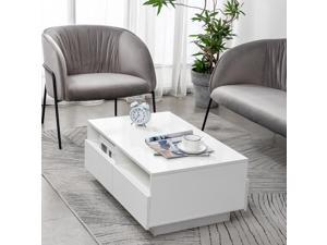 """34"""" Modern High Gloss LED Coffee Table w/ Drawer End Table Living Room Furniture"""