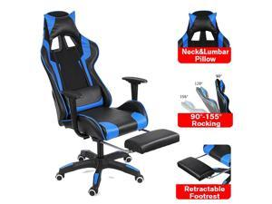 155° Office Chair Gaming Chair High Back Recliner PU Leather Computer Gamer Office Lying Armchair with Footrest Furniture
