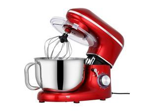 Stand Mixer, 650W 6 Speed 6 Quart Tilt-Head Kitchen Electric Food Mixer with Beater, Dough Hook and Wire Whip, Red, ETL Listed