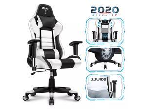 Gaming Chair Racing Style Ergonomic High Back Computer Chair with Height Adjustment, Headrest and Lumbar Support E-Sports Swivel Chair,(White)