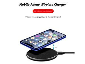 10W Wireless Fast Charger USB Qi Charging Pad Adapter With LED Indicator Round Aluminum Alloy Suitable For Apple And Android