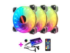 3Pcs Luminous RGB Light Mute Computer Case Cooling Fan with Music Controller