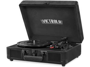 Victrola Vintage 3-Speed Bluetooth Portable Suitcase Record Player with Built-in Speakers, Upgraded Turntable Audio Sound - Black Velvet