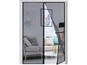 """[Upgraded Version] Magnetic Screen Door 74""""x81"""", Nousija Durable Fiberglass Mesh Curtain, Magnet Patio Door with Full Frame Hook & Loop, Auto Closer Fits Door Size up to 72""""x80"""" Max- Black"""