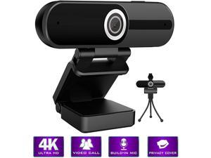 Webcam 4K HD Computer Camera - 8MP Microphone PC Web Camera, Full Widescreen Laptop USB Webcams with Privacy Shutter and Tripod, for Mac Desktop Notebook Video Calling Recording Webcam
