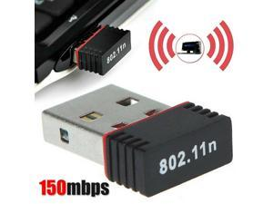 Portable Mini USB WiFi Dongle 802.11n 150Mbps Wireless Network Adapter High Compatibility for Computer Laptop LAN PC (Black)