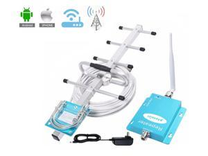 GSM Cell Phone Signal Booster 850Mhz AT&T Verizon 2G 3G 4G Band 5 FDD CDMA Mobile Signal Amplifier Kit With Outdoor Directional Yagi Antenna and Indoor Omni Directional Whip Antenna 50ft Coaxial Cable