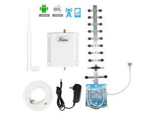 AWS AT&T 1700/2100Mhz Band 4 3G 4G LTE Cell Phone Signal Booster T-Mobile MetroPCS 65dB Amplifier Mobile Signal Amplifier Kit Outdoor Directional Yagi Antenna Indoor Whip Antenna 50ft Coaxial Cable