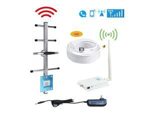 AT&T Cricket Cell Phone Signal Booster 4G LTE 700mhz Band 12 17 T-Mobile U.S. Cellular 65dB Amplifier Mobile Signal Amplifier Kit Outdoor Directional Yagi Antenna Indoor Omni Whip Antenna 50ft Coaxial