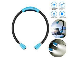 4 LED Bulbs USB Rechargeable Neck Hug Light Flexible Reading Book Light Running Hands Free Lamp with 3 Brightness Mode Adjustable and Eye-caring for Kids Adults, Energy-efficient 1W 5V