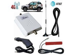 Car Truck AT&T Cell Phone Signal Booster for Car RV Vehicle Boat 4G LTE Signal Booster 700Mhz Band 12/17 with Outside Magnetic Mounted Antenna, Inside Patch Mounted Antenna Cigarette Lighter Adapter