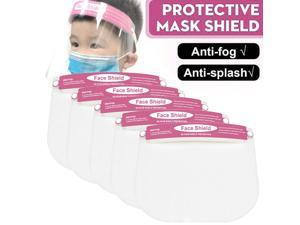 5Pcs Full Face Covering Anti-Fog Shield Clear Glasses Face Protection For Kids Pink