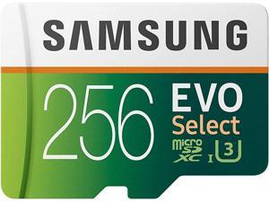 SAMSUNG EVO Select 256GB MicroSDXC UHS-I U3 100MB/s Full HD & 4K UHD Memory Card with Full size Adapter (MB-ME256HA)