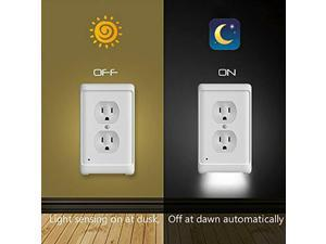 5X Duplex Wall Plate Outlet Cover w/ LED Night Lights Ambient Light Sensor Home Outlet Wall Plate With LED Night Lights Outlet Duplex Cover Ambient Light Sensor Round Hole
