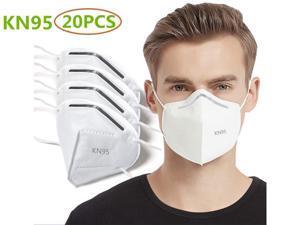 20 Pcs N95 Mask Protective Respirator FDA CE Certified, pm2.5 5-Layer KN95 Mask Face Mask Adult Anti-fog Haze Dustproof Non-Woven Fabrics Mask