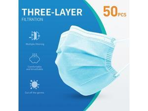 50 Pcs Disposable Face Masks Virus Mask Protection 3-Ply Safety Masks for Man and Woman
